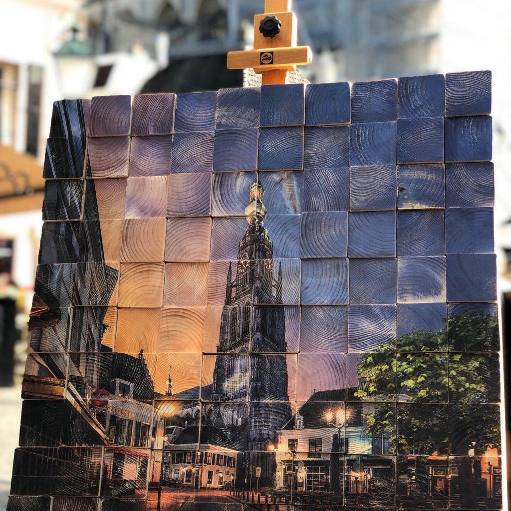 Kunstenaar Joris Bax Grote kerk op hout